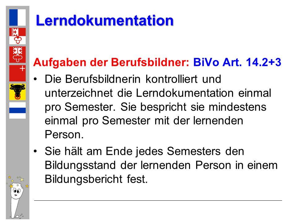 Lerndokumentation Aufgaben der Berufsbildner: BiVo Art. 14.2+3