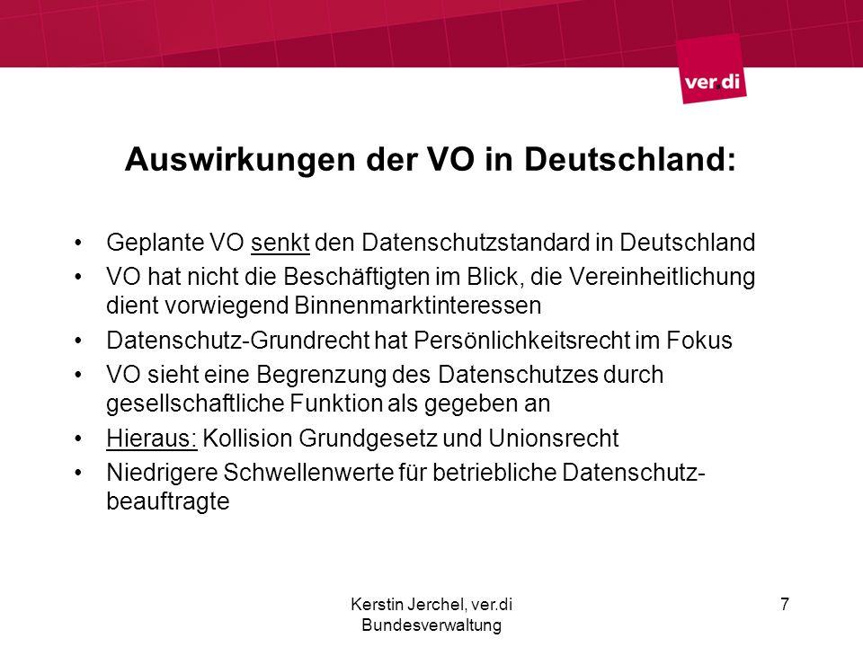 Auswirkungen der VO in Deutschland: