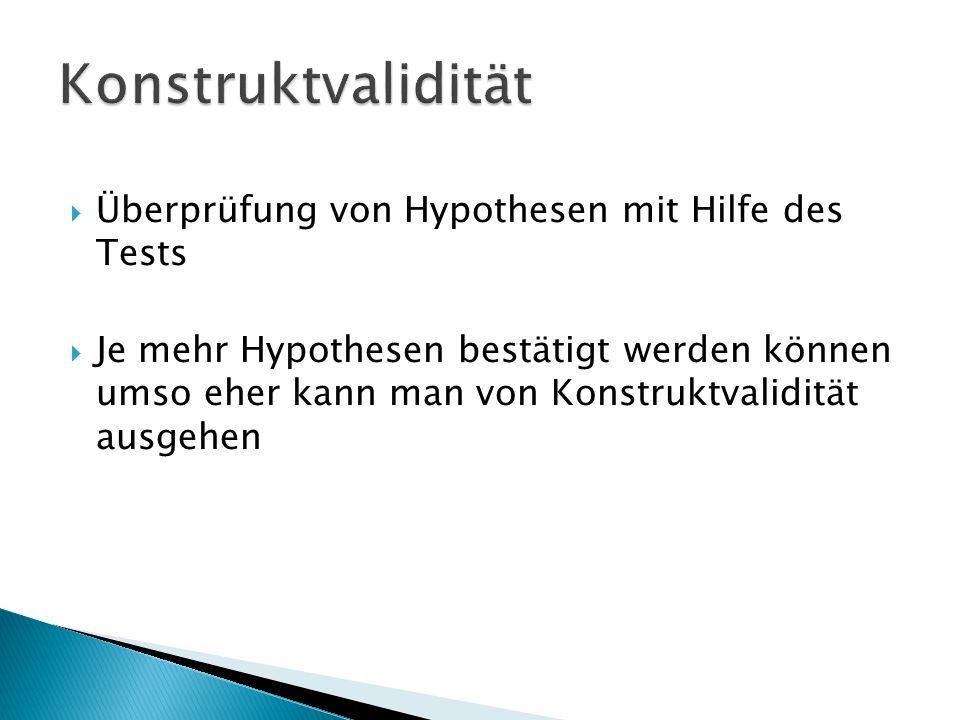 Konstruktvalidität Überprüfung von Hypothesen mit Hilfe des Tests
