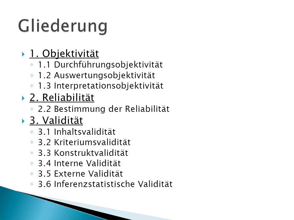 Gliederung 1. Objektivität 2. Reliabilität 3. Validität