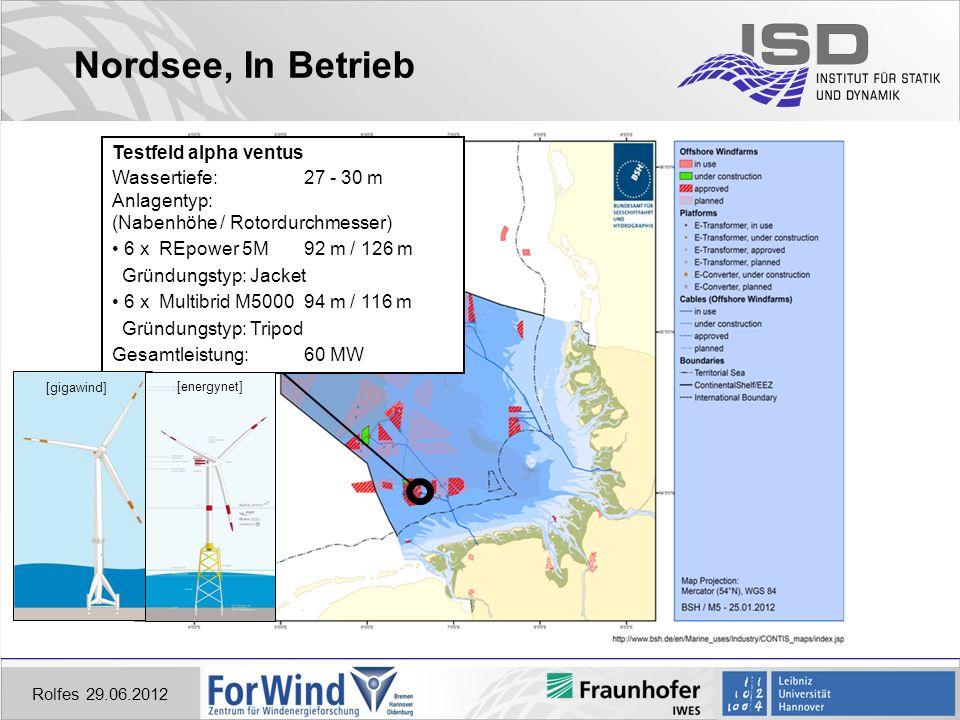 Nordsee, In Betrieb Testfeld alpha ventus Wassertiefe: 27 - 30 m