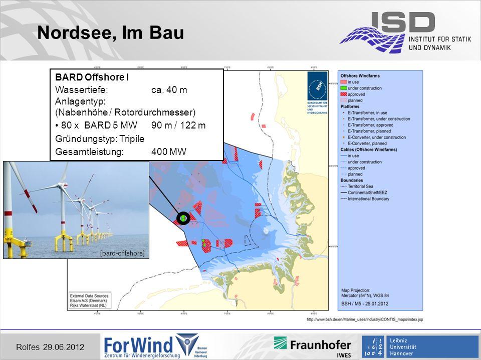 Nordsee, Im Bau BARD Offshore I Wassertiefe: ca. 40 m Anlagentyp: