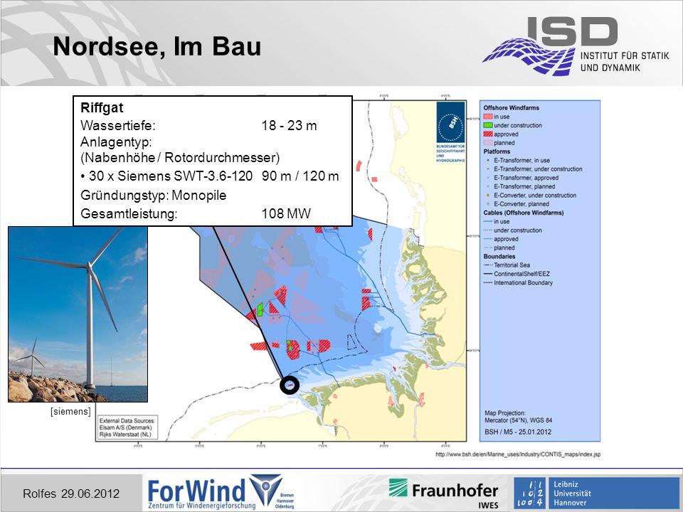 Nordsee, Im Bau Riffgat Wassertiefe: 18 - 23 m Anlagentyp: