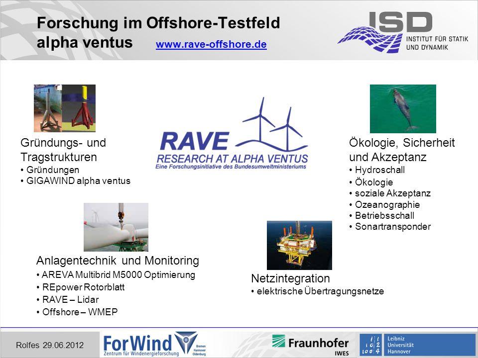 Forschung im Offshore-Testfeld alpha ventus www.rave-offshore.de