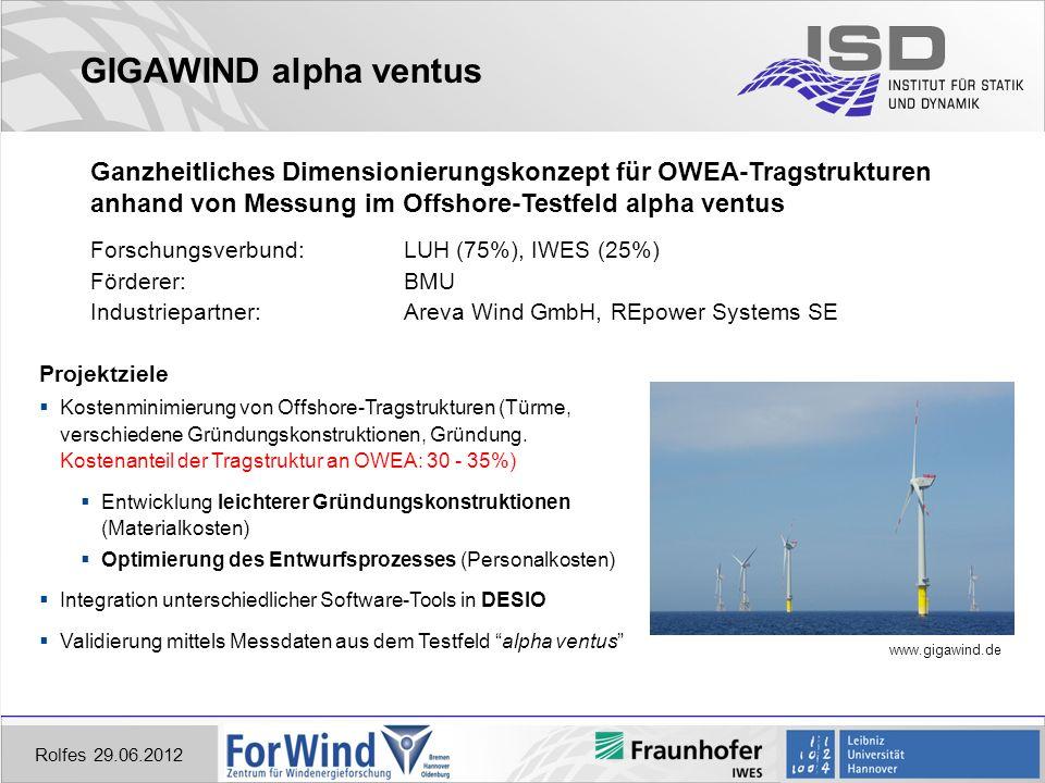 GIGAWIND alpha ventus Ganzheitliches Dimensionierungskonzept für OWEA-Tragstrukturen. anhand von Messung im Offshore-Testfeld alpha ventus.