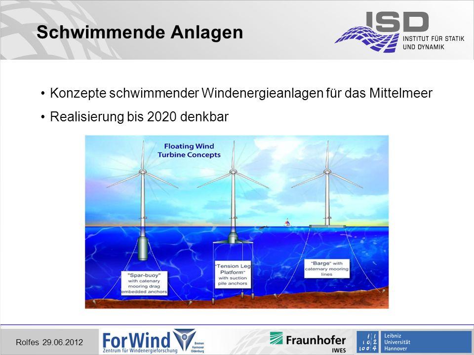 Schwimmende Anlagen Konzepte schwimmender Windenergieanlagen für das Mittelmeer. Realisierung bis 2020 denkbar.