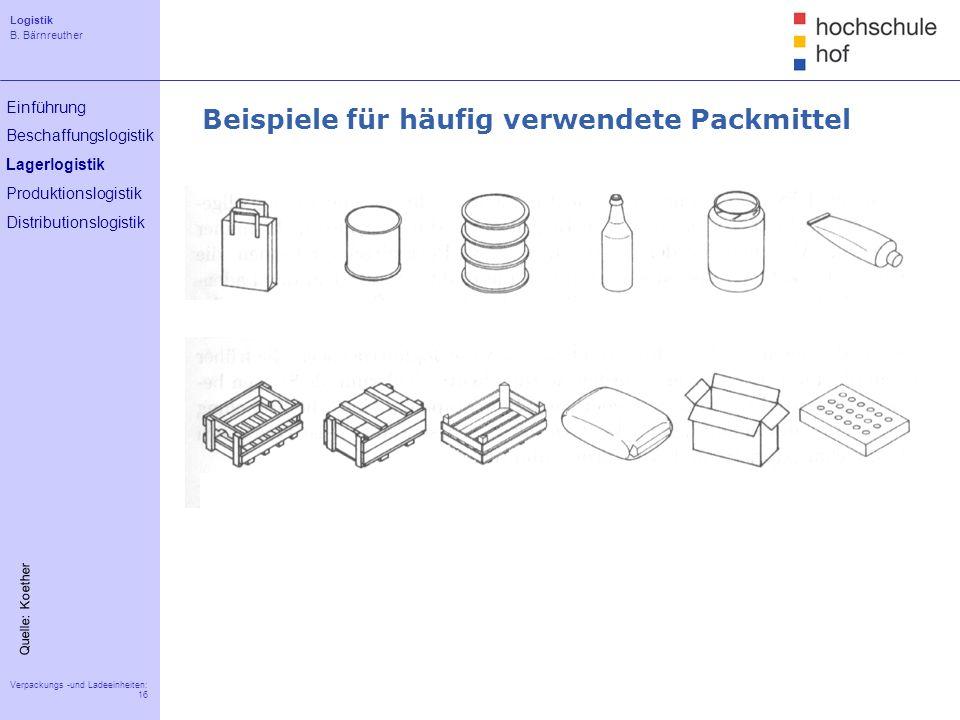 Beispiele für häufig verwendete Packmittel