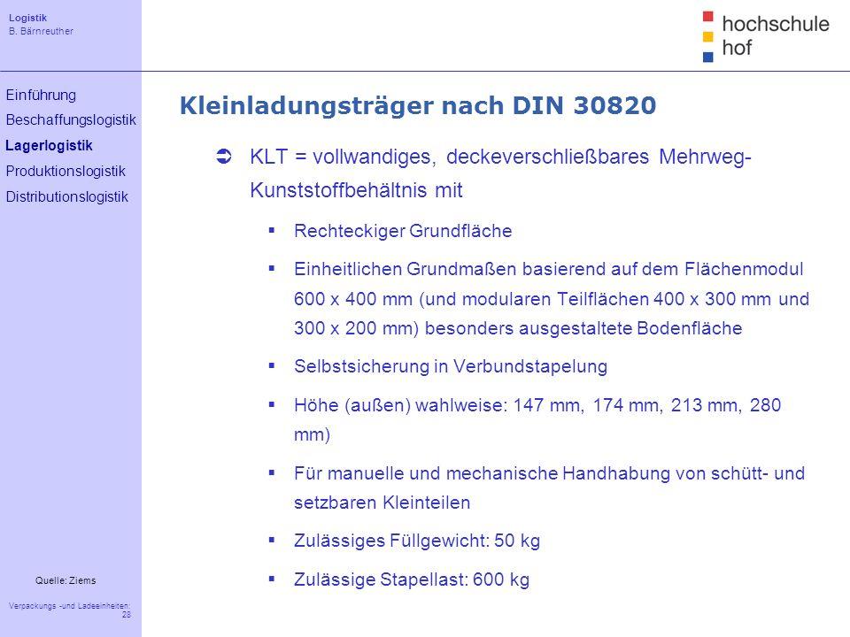 Kleinladungsträger nach DIN 30820