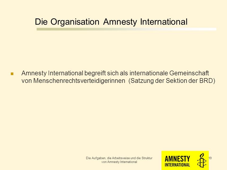 Die Organisation Amnesty International