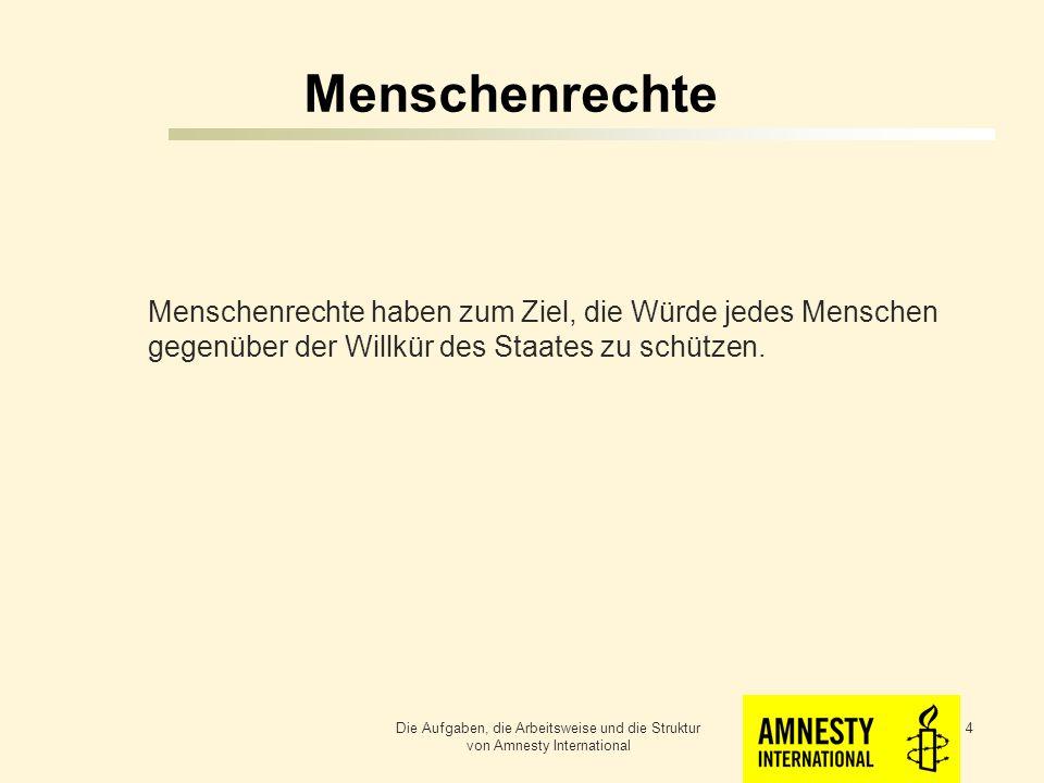 Menschenrechte Menschenrechte haben zum Ziel, die Würde jedes Menschen gegenüber der Willkür des Staates zu schützen.