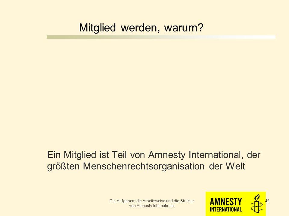 Mitglied werden, warum Ein Mitglied ist Teil von Amnesty International, der größten Menschenrechtsorganisation der Welt.