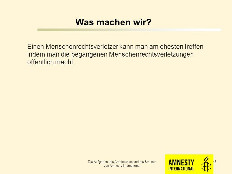 Was machen wir Einen Menschenrechtsverletzer kann man am ehesten treffen indem man die begangenen Menschenrechtsverletzungen öffentlich macht.