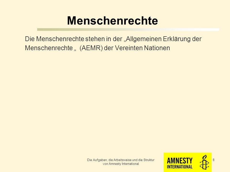 """Menschenrechte Die Menschenrechte stehen in der """"Allgemeinen Erklärung der Menschenrechte """" (AEMR) der Vereinten Nationen"""