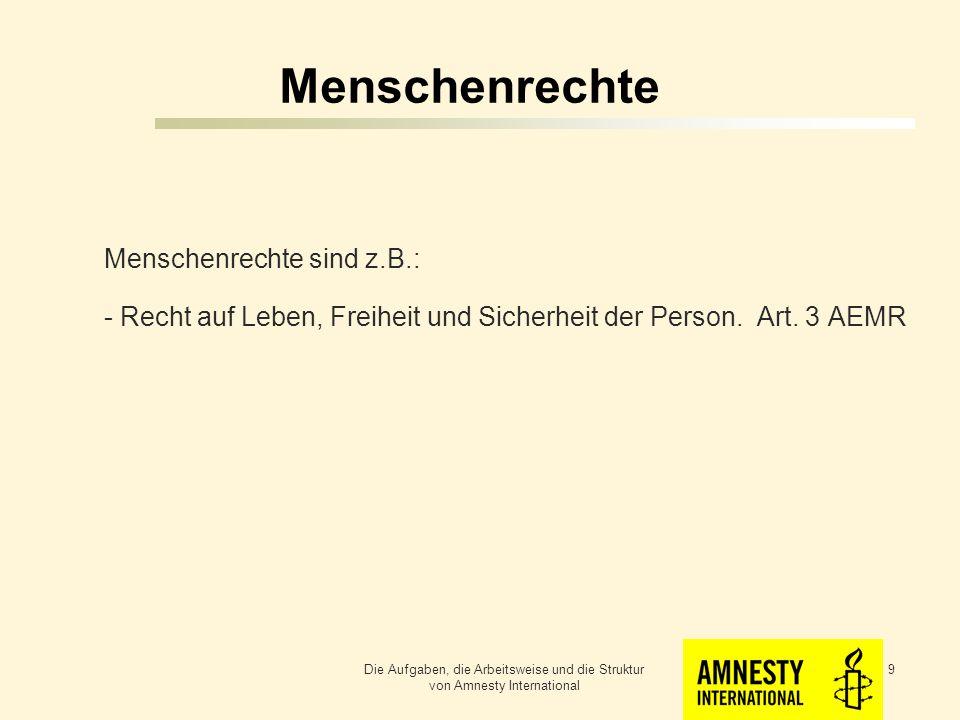 Menschenrechte Menschenrechte sind z.B.: - Recht auf Leben, Freiheit und Sicherheit der Person. Art. 3 AEMR