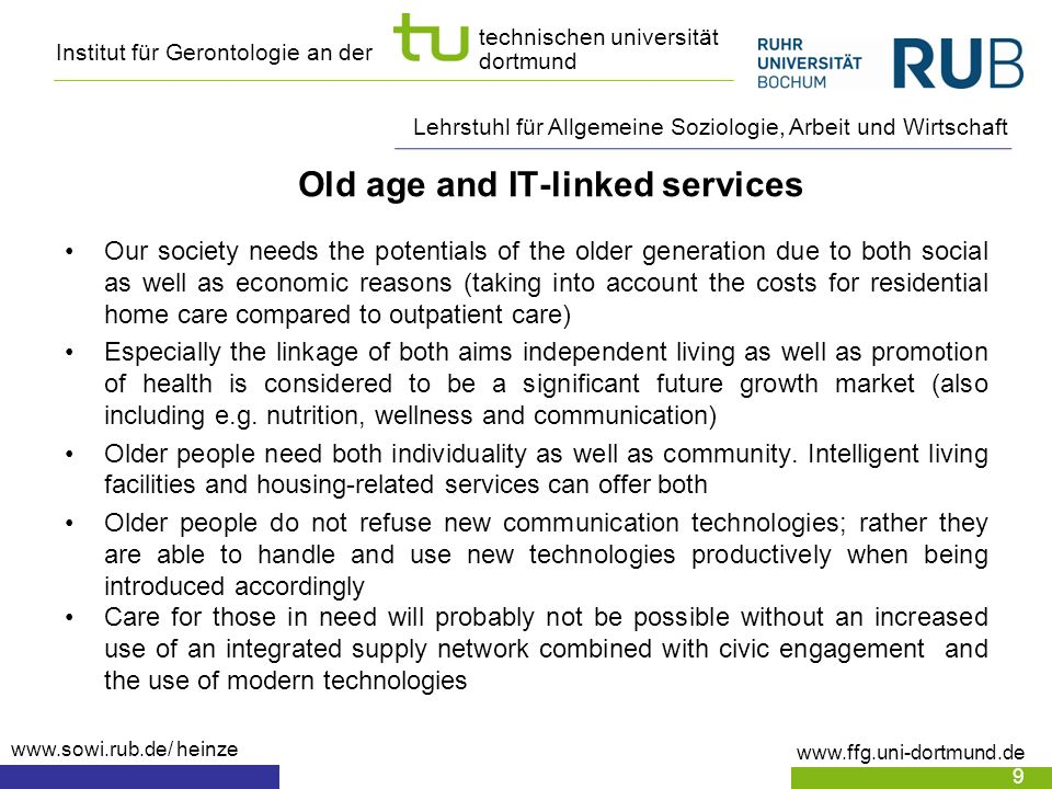 Old age and IT-linked services