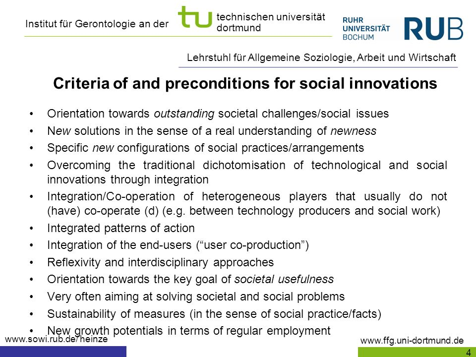 Criteria of and preconditions for social innovations