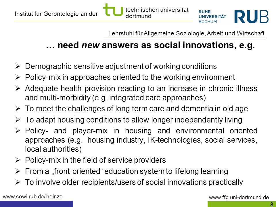 … need new answers as social innovations, e.g.