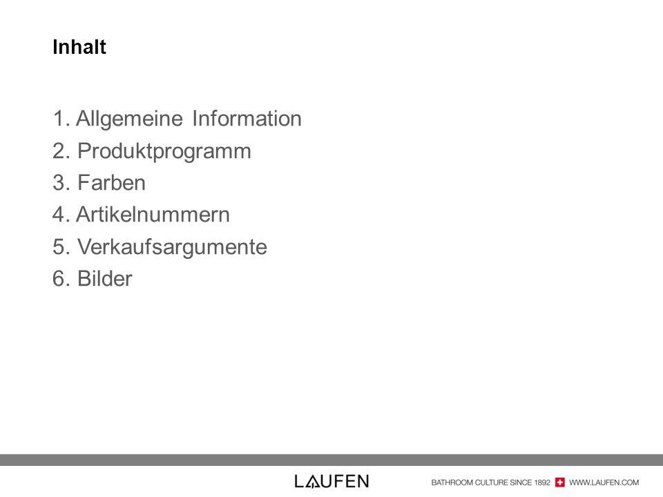Allgemeine Information Produktprogramm Farben Artikelnummern