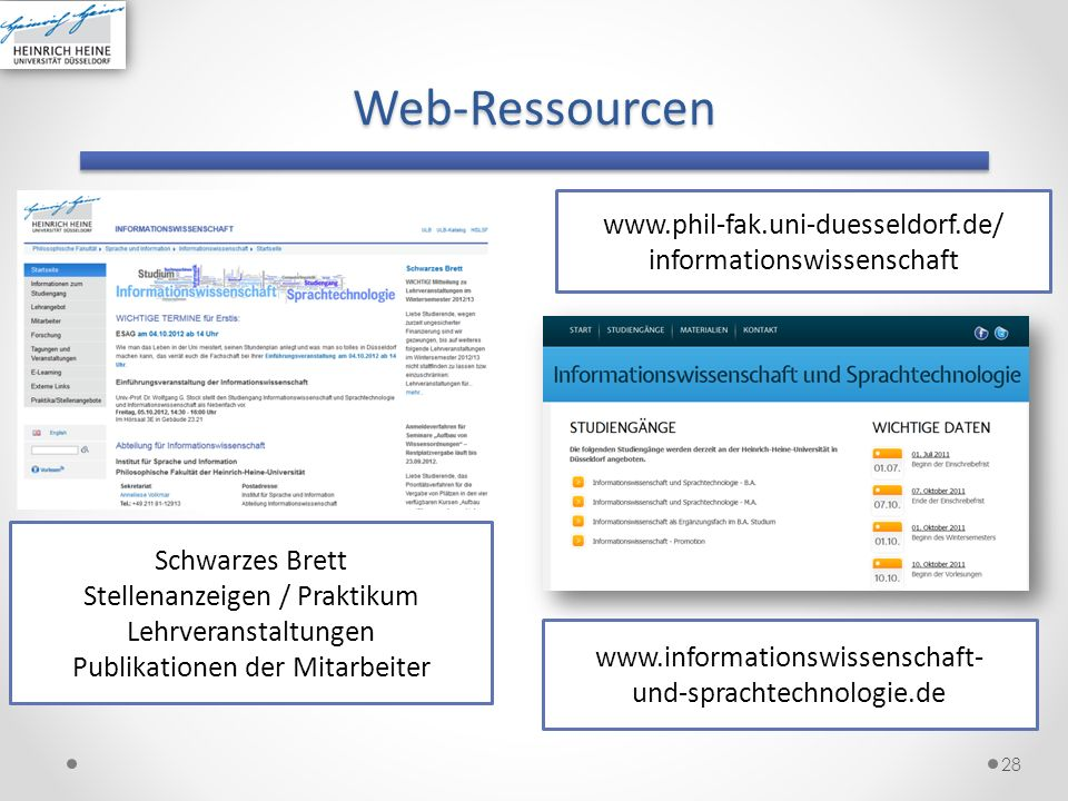 Web-Ressourcen www.phil-fak.uni-duesseldorf.de/