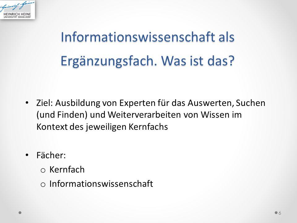 Informationswissenschaft als Ergänzungsfach. Was ist das
