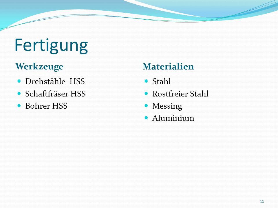 Fertigung Werkzeuge Materialien Drehstähle HSS Schaftfräser HSS