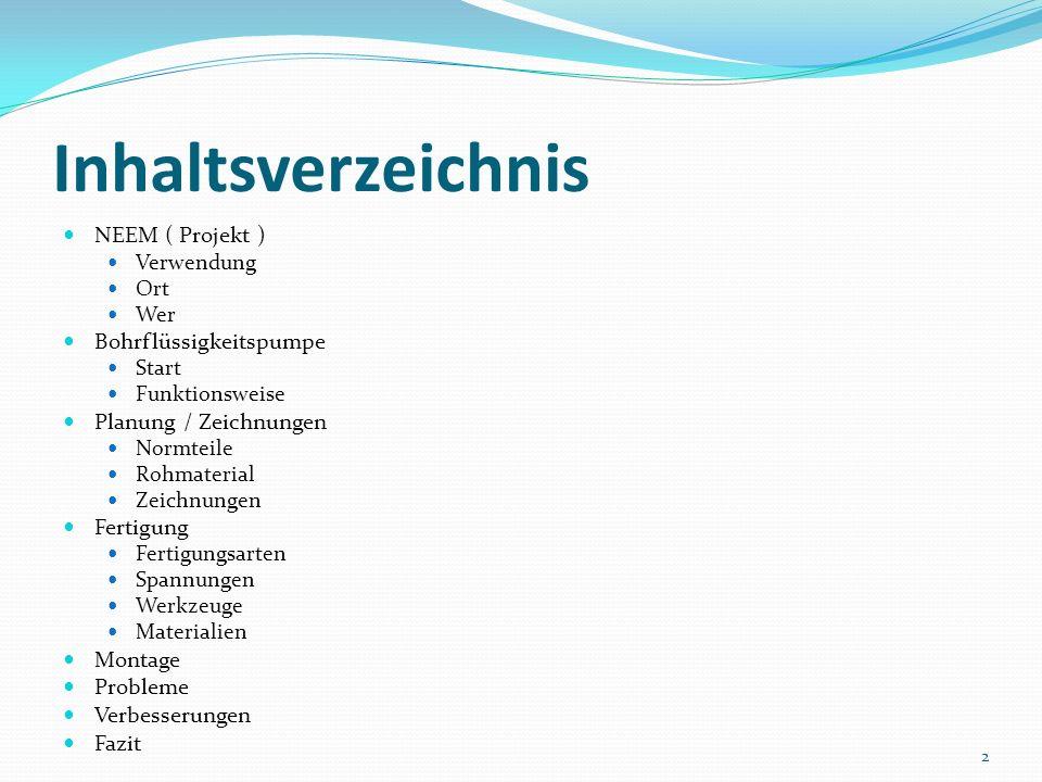 Inhaltsverzeichnis NEEM ( Projekt ) Bohrflüssigkeitspumpe