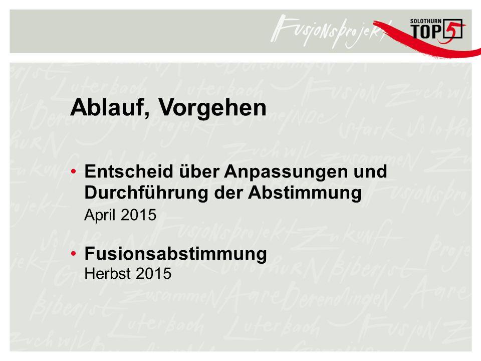 Ablauf, Vorgehen Entscheid über Anpassungen und Durchführung der Abstimmung. April 2015. Fusionsabstimmung.