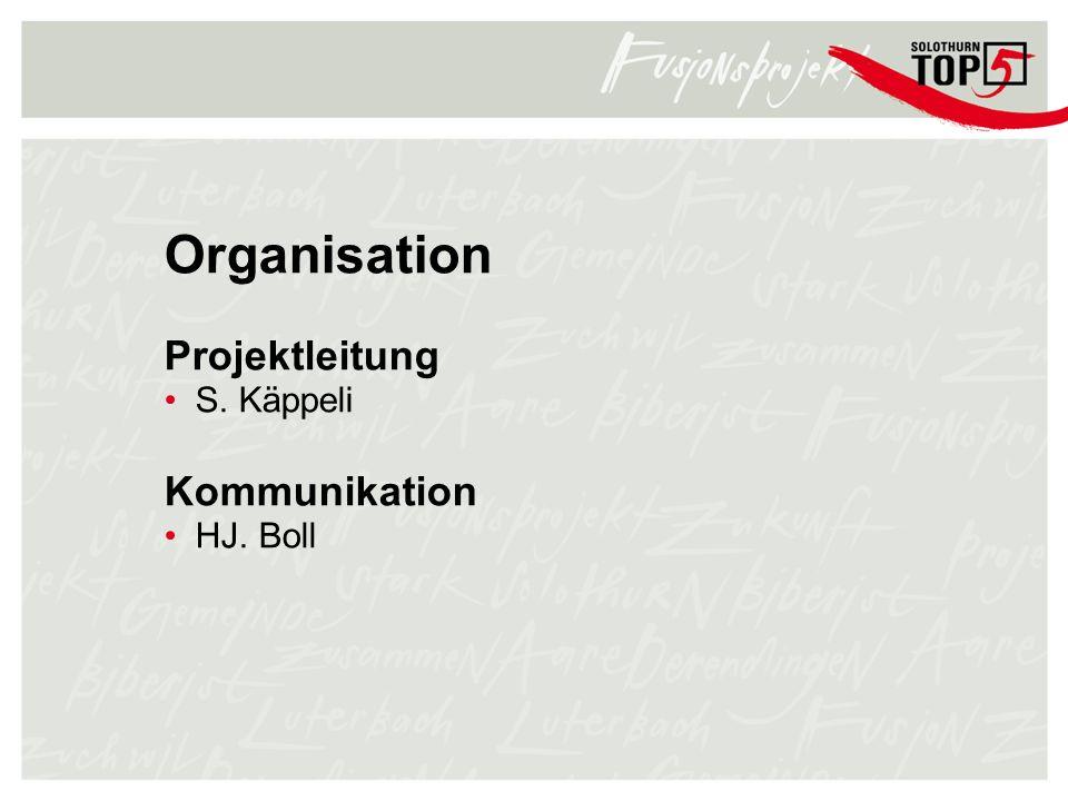 Organisation Projektleitung S. Käppeli Kommunikation HJ. Boll