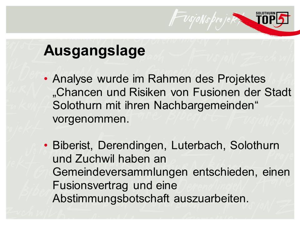 """Ausgangslage Analyse wurde im Rahmen des Projektes """"Chancen und Risiken von Fusionen der Stadt Solothurn mit ihren Nachbargemeinden vorgenommen."""