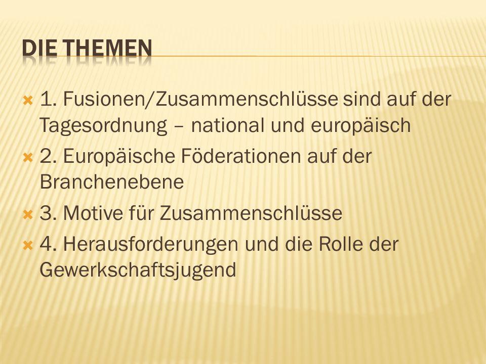 Die Themen 1. Fusionen/Zusammenschlüsse sind auf der Tagesordnung – national und europäisch. 2. Europäische Föderationen auf der Branchenebene.