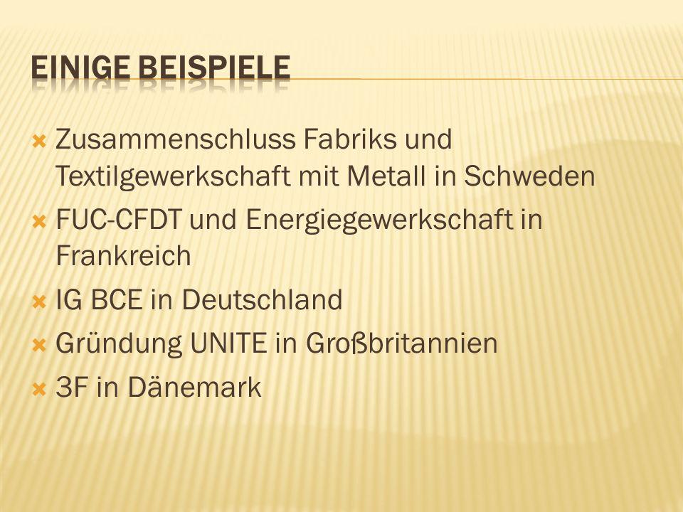 Einige BeispielE Zusammenschluss Fabriks und Textilgewerkschaft mit Metall in Schweden. FUC-CFDT und Energiegewerkschaft in Frankreich.