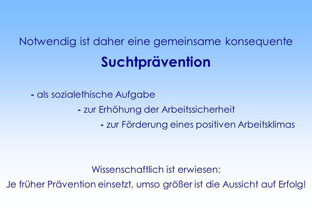 Suchtprävention Notwendig ist daher eine gemeinsame konsequente