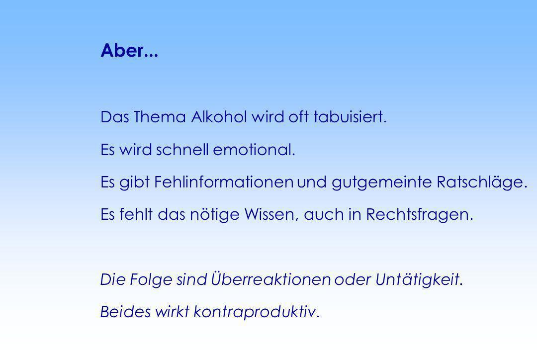 Aber...Das Thema Alkohol wird oft tabuisiert. Es wird schnell emotional. Es gibt Fehlinformationen und gutgemeinte Ratschläge.