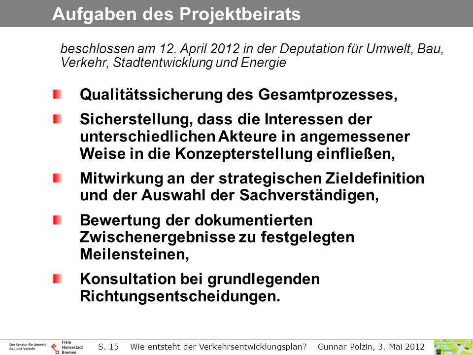 Aufgaben des Projektbeirats