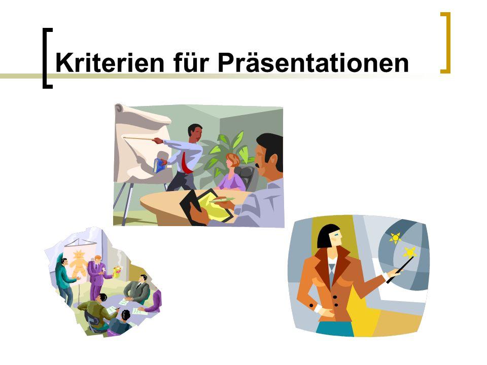 Kriterien für Präsentationen