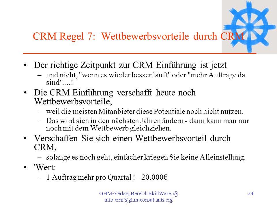 CRM Regel 7: Wettbewerbsvorteile durch CRM