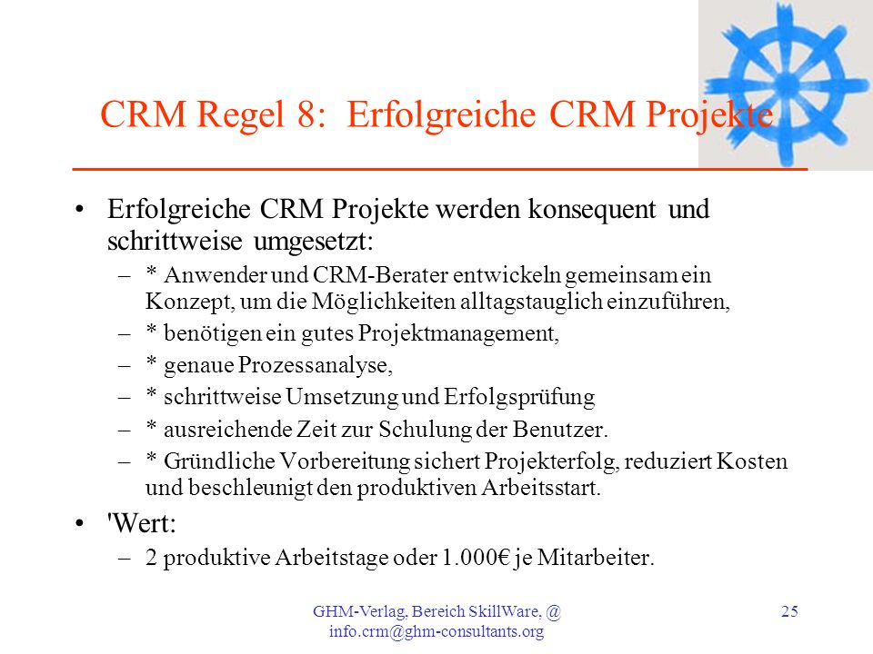 CRM Regel 8: Erfolgreiche CRM Projekte