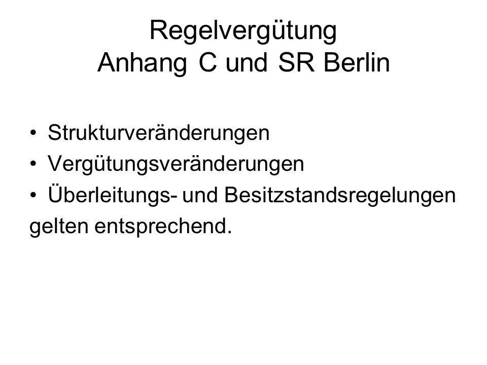 Regelvergütung Anhang C und SR Berlin