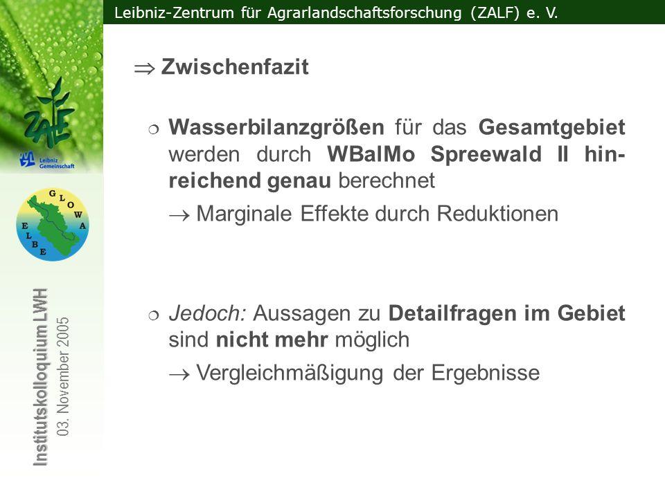  Zwischenfazit Wasserbilanzgrößen für das Gesamtgebiet werden durch WBalMo Spreewald II hin-reichend genau berechnet.