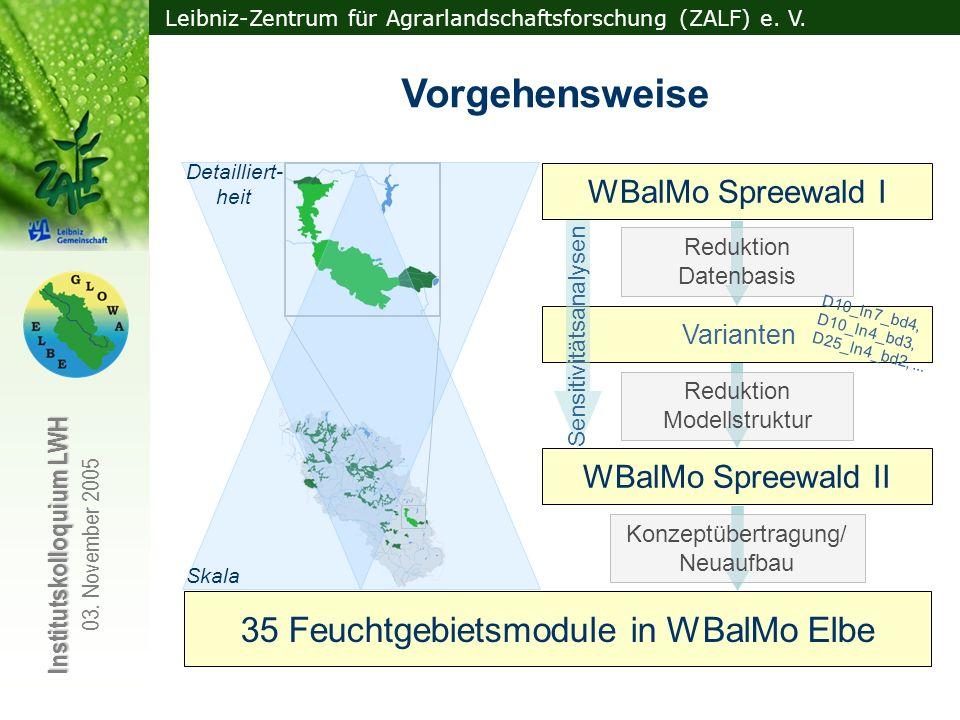 Vorgehensweise 35 Feuchtgebietsmodule in WBalMo Elbe