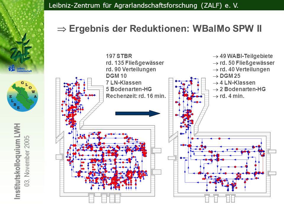  Ergebnis der Reduktionen: WBalMo SPW II