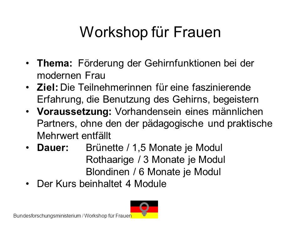 Workshop für Frauen Thema: Förderung der Gehirnfunktionen bei der modernen Frau.