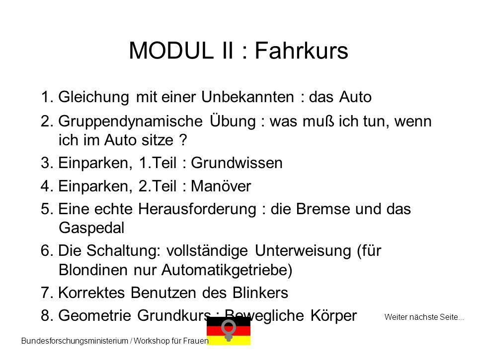 MODUL II : Fahrkurs 1. Gleichung mit einer Unbekannten : das Auto
