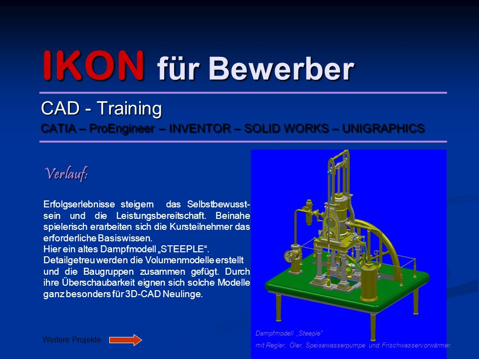 IKON für Bewerber CAD - Training Verlauf: