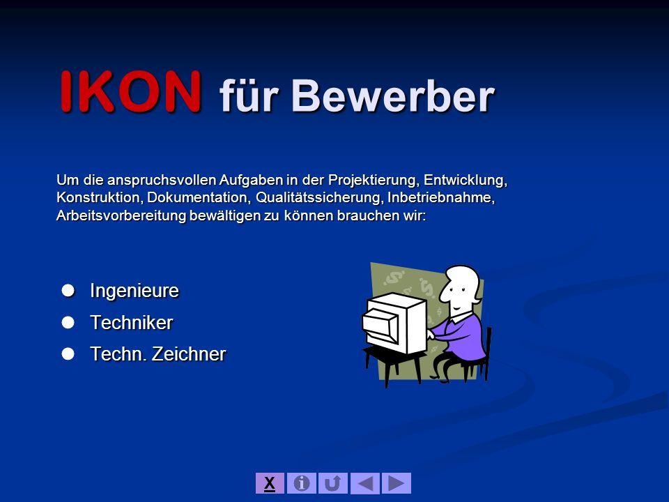 IKON für Bewerber  Ingenieure  Techniker  Techn. Zeichner X