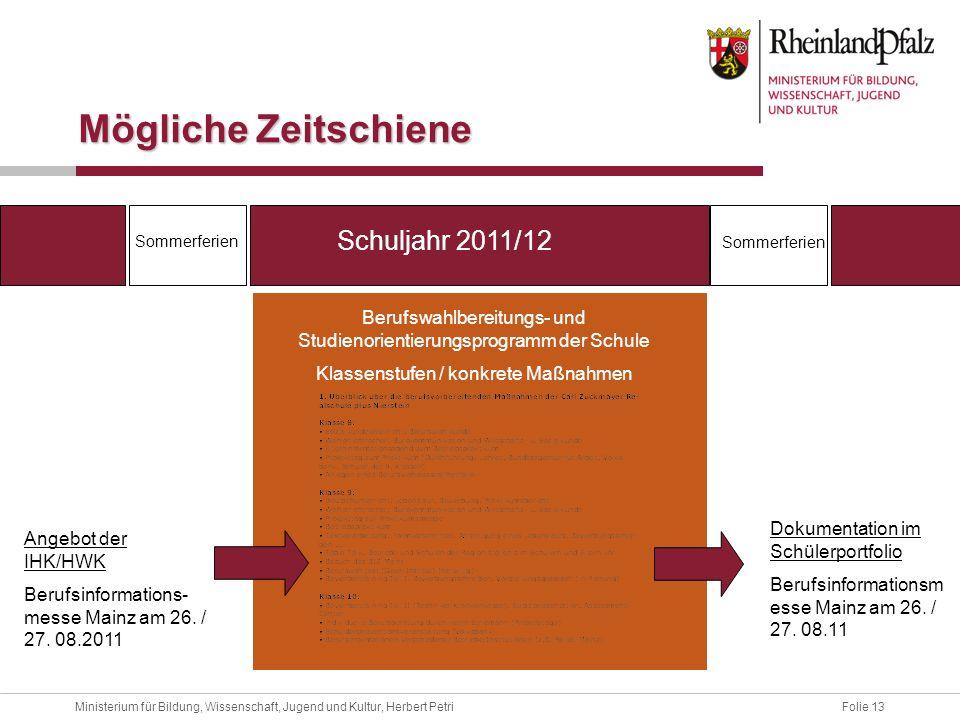 Mögliche Zeitschiene Schuljahr 2011/12