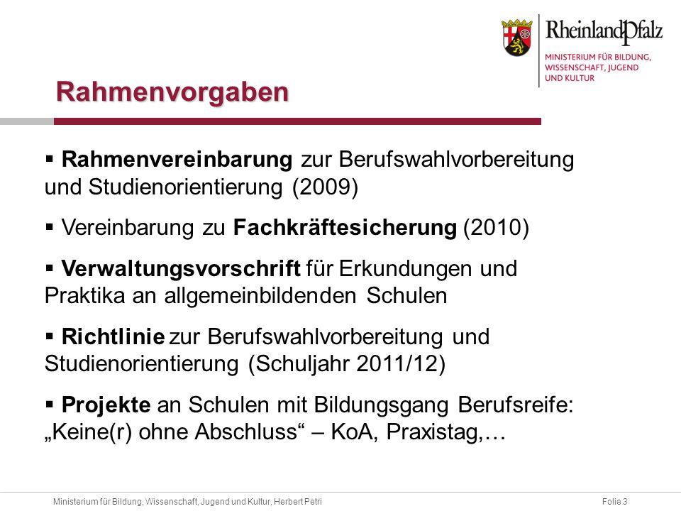 Rahmenvorgaben Rahmenvereinbarung zur Berufswahlvorbereitung und Studienorientierung (2009) Vereinbarung zu Fachkräftesicherung (2010)
