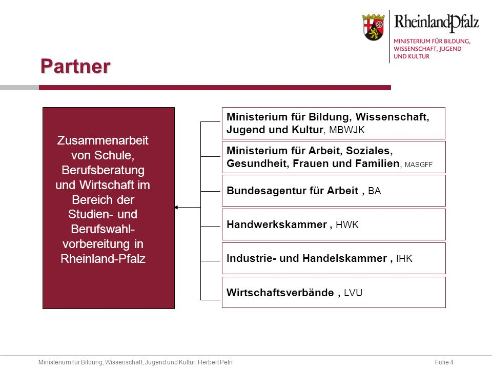 Partner Ministerium für Bildung, Wissenschaft, Jugend und Kultur, MBWJK.