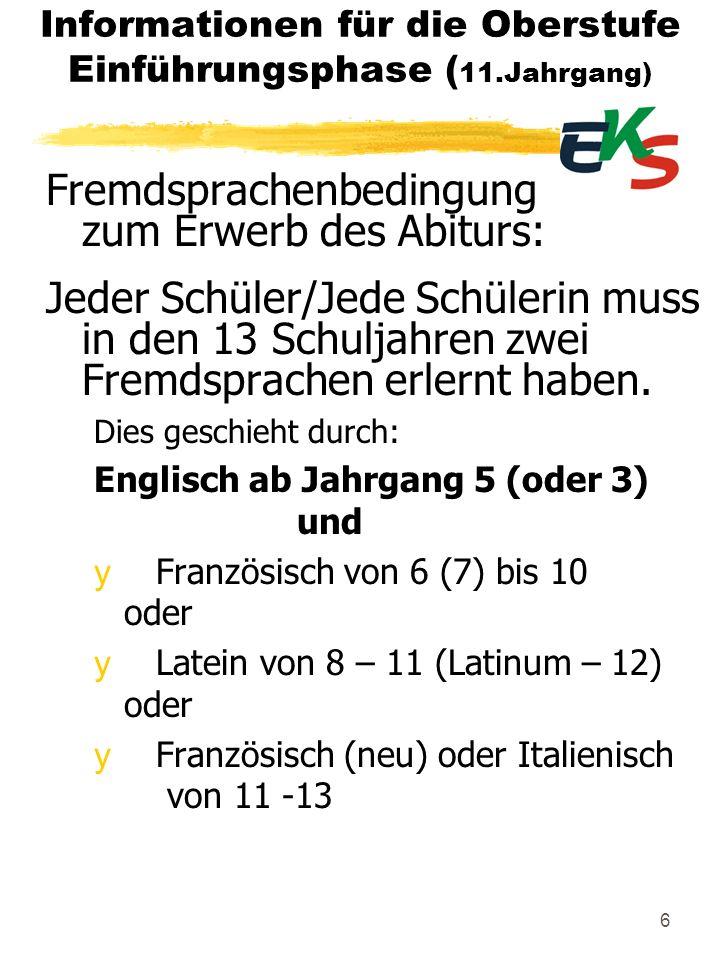 Informationen für die Oberstufe Einführungsphase (11.Jahrgang)