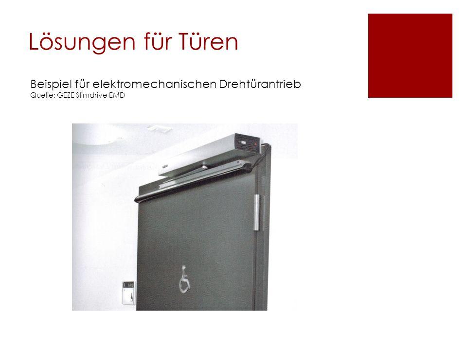 Lösungen für Türen Beispiel für elektromechanischen Drehtürantrieb
